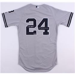 """Gary Sanchez Signed LE Yankees Majestic Authentic On-Field Jersey Inscribed """"1st MLB HR 8/10/16"""" (ML"""