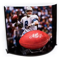 """Troy Aikman Signed NFL Official Game Ball Inscribed """"HOF 06"""" with Custom Curve Display Case (Steiner"""