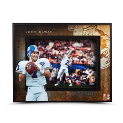 "John Elway Signed ""Prolific Passer"" 20x16x2 Custom Framed Shadow Box (UDA COA)"