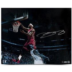 "LeBron James Signed Heat ""Over The Top"" LE 16x20 Photo (UDA COA)"