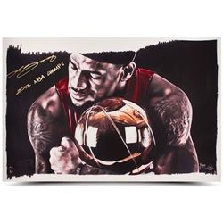 "LeBron James Signed Heat ""Magic Moments"" LE 16x24 Photo Inscribed ""2012 NBA Champs"" (UDA COA)"