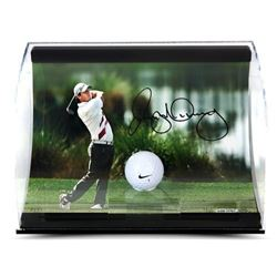 "Rory McIlroy Signed ""Holding the Finish"" 11x7x5 Range Driven Golf Ball Curve Display (UDA COA)"