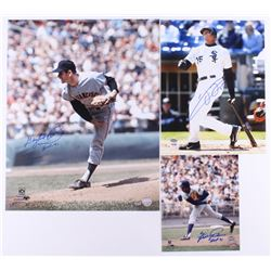 Lot of (3) Signed Baseball HOFs Photos with (1) Frank Thomas, (1) Gaylord Perry  (1) Fergie Jenkins