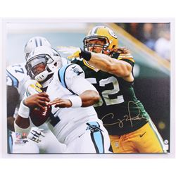 "Clay Matthews Signed Packers 24""x30"" Photo on Canvas (Matthews Hologram)"