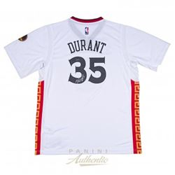 Kevin Durant Signed Warriors Authentic Chinese New Year Swingman Jersey (Panini COA)