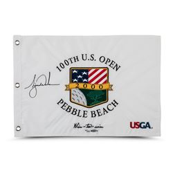 "Tiger Woods Signed LE 2000 PGA U.S. Open Pin Flag Inscribed ""Wire-to-Wire"" (UDA COA)"