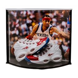 Allen Iverson Signed LE 76ers Pair of (2) Reebok Shoes with Curve Display Case (UDA COA)