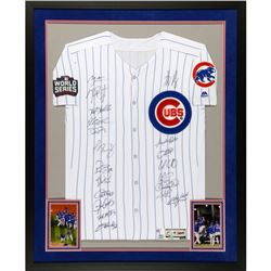 "2016 Cubs World Series Champions 32"" x 40"" LE Custom Framed Jersey Team-Signed by (20) with Kris Bry"