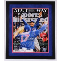 """2016 Cubs LE 22"""" x 26"""" Custom Framed Photo Display Team-Signed by (20) with Kris Bryant, Anthony Riz"""