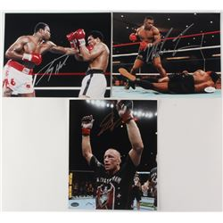 Lot of (3) Signed 8x10 Photos with (1) Mike Tyson Photo, (1) Larry Holmes Photo  (1) Georges St. Pie