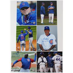 Lot of (6) Cubs 8x10 Photos with (1) Henry Blanco, (1) Chris Bosio, (1) Brandon Hyde, (1) John Malle