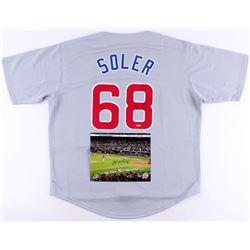 Lot of (2) Signed Cubs Baseball Items with (1) Mike Montgomery 8x10 Photo  (1) Jorge Soler Jersey (S