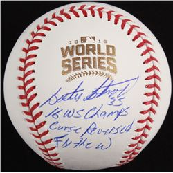 """Lester Strode Signed Official 2016 World Series Baseball Inscribed """"16 WS Champs"""", """"Curse Reversed"""""""