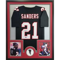 Deion Sanders Signed Falcons 34x42 Custom Framed Jersey (Radtke COA)