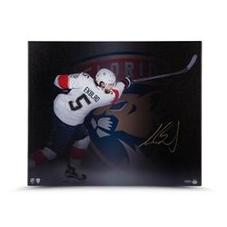 "Aaron Ekblad Signed Panthers ""Follow Through"" 20"" x 24"" Photo on Canvas (UDA COA)"