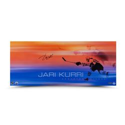 "Jari Kurri Signed Oilers ""19 Playoff Goals"" 26"" x 11"" Photo (UDA COA)"