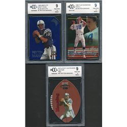 Lot of (3) Peyton Manning Rookie Football Cards (BCCG 9)