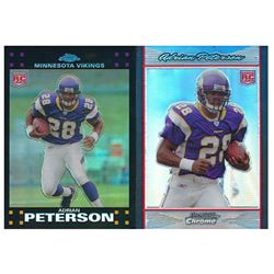 Lot of (2) Adrian Peterson Rookie Cards with 2007 Topps Chrome #TC181 RC  2007 Bowman Chrome #BC65 R