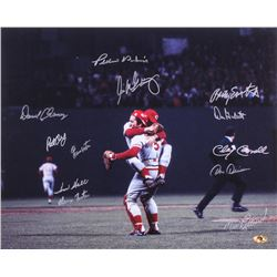 1975 Reds World Series Champions 16x20 Photo Team Signed by (12) with Pat Darcy, Ed Armbrister, Rawl