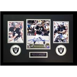 Ken Stabler Signed Raiders 16x26 Custom Framed Photo Display (Radtke COA)