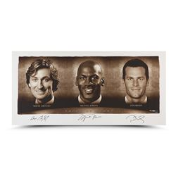 "Wayne Gretzky, Michael Jordan  Tom Brady Signed ""Faces of Sports"" 24x48 Limited Edition Photo (UDA)"