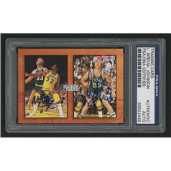 Magic Johnson  Larry Bird Signed 1993-94 Hoops #MB1 (PSA Encapsulated)