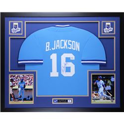 "Bo Jackson Signed Royals 35"" x 43"" Custom Framed Jersey (Beckett COA)"