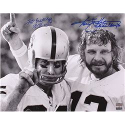 "Ken Stabler  Fred Biletnikoff Signed Raiders 16x20 Photo Inscribed ""SB XI MVP""  ""SB XI Champs"" (Radt"