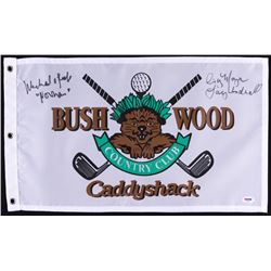 "Michael O'Keefe  Cindy Morgan Signed  ""Bush Wood Country Club"" Caddyshack Golf Pin Flag (PSA COA)"