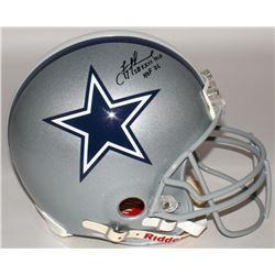 "Troy Aikman Signed Cowboys Full-Size Authentic On-Field Helmet Inscribed ""SB XXVII MVP""  ""HOF '06"" ("