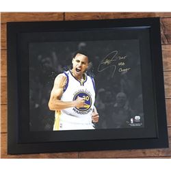 "Stephen Curry Signed Warriors 16x20 Limited Edition Custom Framed Photo Inscribed ""2015 NBA Champs"""