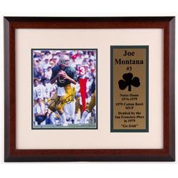 Joe Montana Signed Notre Dame Fighting Irish 17.75x21 Custom Framed Photo Display (Hollywood Collect