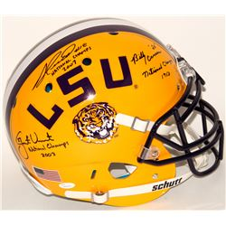 Billy Cannon, Jacob Hester  Justin Vincent Signed LSU Tigers Full-Size Authentic On-Field Helmet Wit