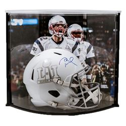 Tom Brady Signed LE Super Bowl 51 Full-Size Custom Matte White ICE Speed Helmet with Curve Display C