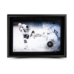 Steven Stamkos Signed Lightning 24x16 Custom Framed Photo  Hockey Puck Breaking Through Display (UDA