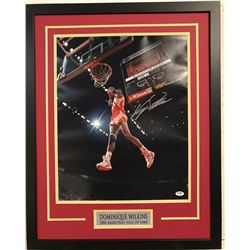 Dominique Wilkins Signed 23x29 Custom Framed Photo Display (PSA COA)