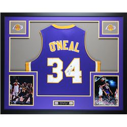 "Shaquille O'Neal Signed Lakers 35"" x 43"" Custom Framed Jersey (JSA COA)"