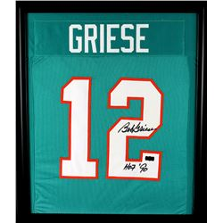 "Bob Greise Signed Dolphins 23x27 Custom Framed Jersey Display Inscribed ""HOF '90"" (Radtke COA)"