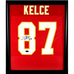Travis Kelce Signed Chiefs 23x27 Custom Framed Jersey (Radtke COA)