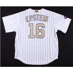 "Theo Epstein Signed Cubs 2016 Worl Series Gold Jersey Inscribed ""2016 WS Champs"" (Schwartz COA)"