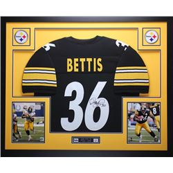 "Jerome Bettis Signed Steelers 35"" x 43"" Custom Framed Jersey (JSA COA)"