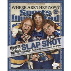 "Dave Hanson, Steve Carlson  Jeff Carlson Signed Sports Illustrated ""Slap Shot"" 8x10 Photo (JSA Holog"