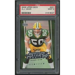 2006 Upper Deck Exclusive Edition Rookies #201 A.J. Hawk (PSA 9)