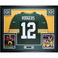 "Aaron Rodgers Signed Packers 35"" x 43"" Custom Framed Jersey (Fanatics Hologram)"