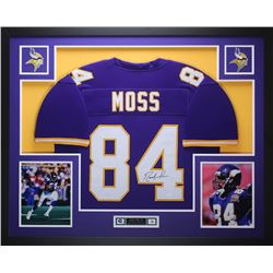 Randy Moss Signed Vikings 35x43 Custom Framed Jersey (JSA COA)