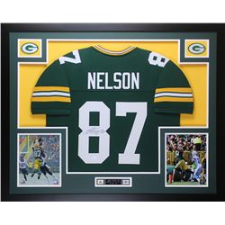 "Jordy Nelson Signed Packers 35"" x 43"" Custom Framed Jersey (JSA COA)"
