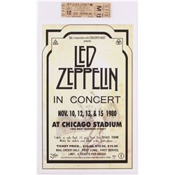 Lot of (2) Led Zeppelin Concert Items with (1) Concert Ticket  (1) 11x17 Concert Poster Print