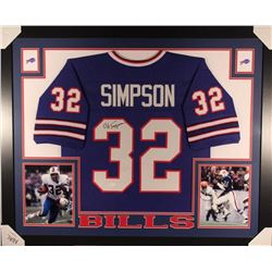 O. J. Simpson Signed Bills 35x43 Custom Framed Jersey (JSA COA)