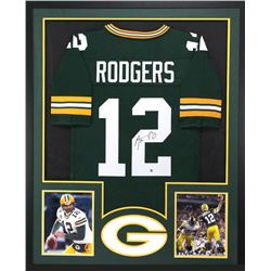 Aaron Rodgers Signed Packers 34x42 Custom Framed Jersey (Steiner COA)