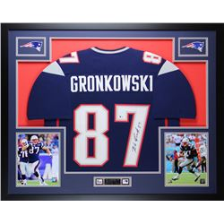 "Rob Gronkowski Signed Patriots 35"" x 43"" Custom Framed Jersey (Beckett COA)"